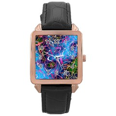 Background Chaos Mess Colorful Rose Gold Leather Watch