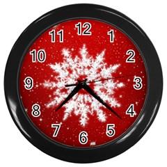 Background Christmas Star Wall Clocks (black)