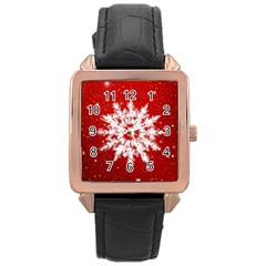 Background Christmas Star Rose Gold Leather Watch