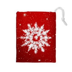 Background Christmas Star Drawstring Pouches (large)