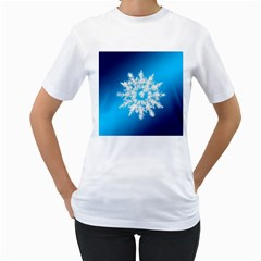 Background Christmas Star Women s T Shirt (white) (two Sided)