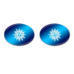 Background Christmas Star Cufflinks (oval)