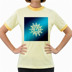 Background Christmas Star Women s Fitted Ringer T Shirts