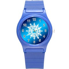 Background Christmas Star Round Plastic Sport Watch (s)
