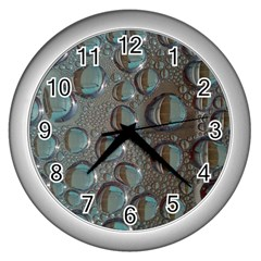 Drop Of Water Condensation Fractal Wall Clocks (silver)