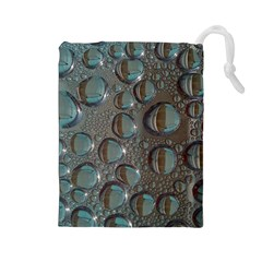Drop Of Water Condensation Fractal Drawstring Pouches (large)