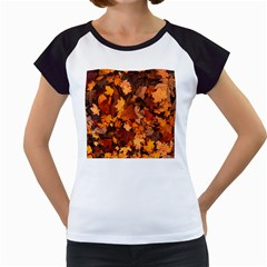 Fall Foliage Autumn Leaves October Women s Cap Sleeve T