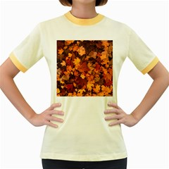 Fall Foliage Autumn Leaves October Women s Fitted Ringer T Shirts