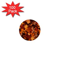 Fall Foliage Autumn Leaves October 1  Mini Buttons (100 Pack)