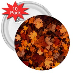 Fall Foliage Autumn Leaves October 3  Buttons (10 Pack)