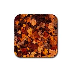 Fall Foliage Autumn Leaves October Rubber Square Coaster (4 Pack)
