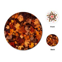 Fall Foliage Autumn Leaves October Playing Cards (round)