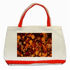 Fall Foliage Autumn Leaves October Classic Tote Bag (red)
