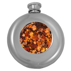 Fall Foliage Autumn Leaves October Round Hip Flask (5 Oz)