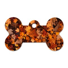 Fall Foliage Autumn Leaves October Dog Tag Bone (two Sides)
