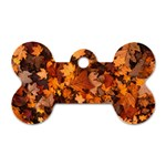 Fall Foliage Autumn Leaves October Dog Tag Bone (Two Sides) Front