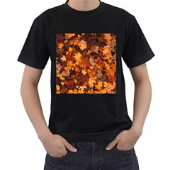 Fall Foliage Autumn Leaves October Men s T Shirt (black)
