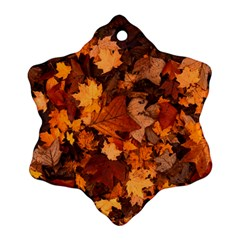 Fall Foliage Autumn Leaves October Snowflake Ornament (two Sides)