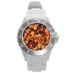 Fall Foliage Autumn Leaves October Round Plastic Sport Watch (l)