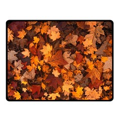 Fall Foliage Autumn Leaves October Double Sided Fleece Blanket (small)