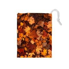 Fall Foliage Autumn Leaves October Drawstring Pouches (medium)