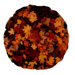 Fall Foliage Autumn Leaves October Large 18  Premium Flano Round Cushions