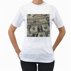 Dollar Currency Money Us Dollar Women s T Shirt (white) (two Sided)