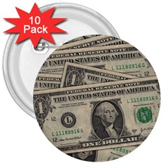 Dollar Currency Money Us Dollar 3  Buttons (10 Pack)