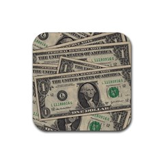 Dollar Currency Money Us Dollar Rubber Square Coaster (4 Pack)
