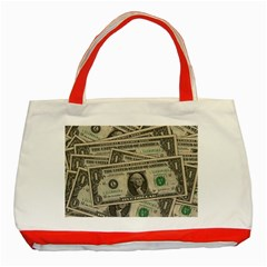 Dollar Currency Money Us Dollar Classic Tote Bag (red)