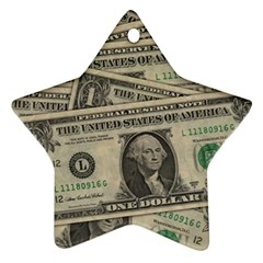 Dollar Currency Money Us Dollar Star Ornament (two Sides)
