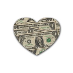 Dollar Currency Money Us Dollar Rubber Coaster (heart)