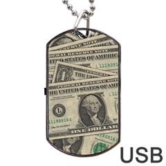 Dollar Currency Money Us Dollar Dog Tag Usb Flash (two Sides)