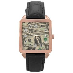 Dollar Currency Money Us Dollar Rose Gold Leather Watch