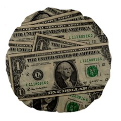 Dollar Currency Money Us Dollar Large 18  Premium Flano Round Cushions