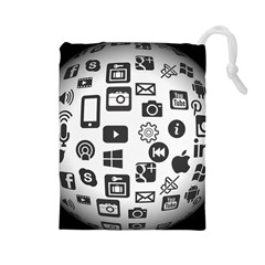 Icon Ball Logo Google Networking Drawstring Pouches (large)