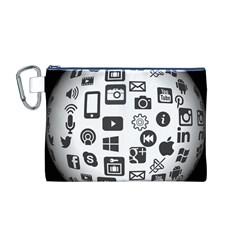 Icon Ball Logo Google Networking Canvas Cosmetic Bag (m)