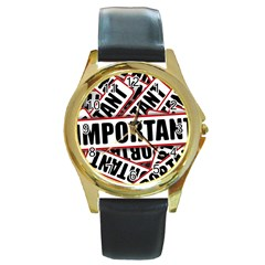 Important Stamp Imprint Round Gold Metal Watch