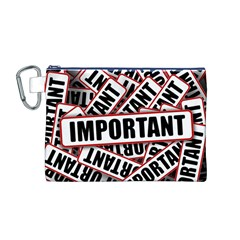 Important Stamp Imprint Canvas Cosmetic Bag (m)