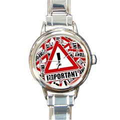 Important Stamp Imprint Round Italian Charm Watch