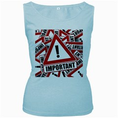 Important Stamp Imprint Women s Baby Blue Tank Top