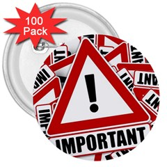 Important Stamp Imprint 3  Buttons (100 Pack)