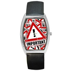 Important Stamp Imprint Barrel Style Metal Watch