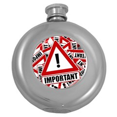 Important Stamp Imprint Round Hip Flask (5 Oz)
