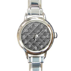 Grid Wire Mesh Stainless Rods Round Italian Charm Watch