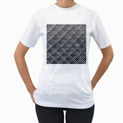 Grid Wire Mesh Stainless Rods Women s T Shirt (white) (two Sided)