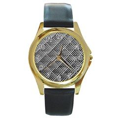 Grid Wire Mesh Stainless Rods Round Gold Metal Watch