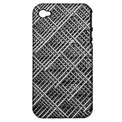 Grid Wire Mesh Stainless Rods Apple Iphone 4/4s Hardshell Case (pc+silicone)