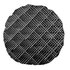Grid Wire Mesh Stainless Rods Large 18  Premium Flano Round Cushions