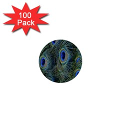 Peacock Feathers Blue Bird Nature 1  Mini Buttons (100 Pack)